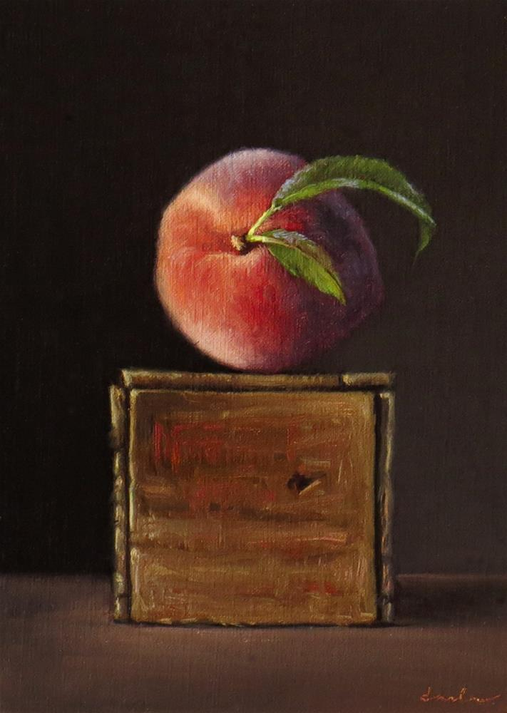"""Peach with Vintage Crate"" original fine art by Darla McDowell"