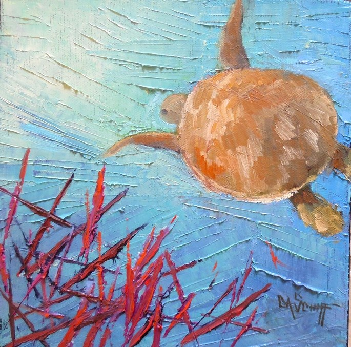 """Daily Painting, Underwater Painting, Key Largo Sea Turtle, Small Oil Painting, 8x8x1.5 Oil"" original fine art by Carol Schiff"