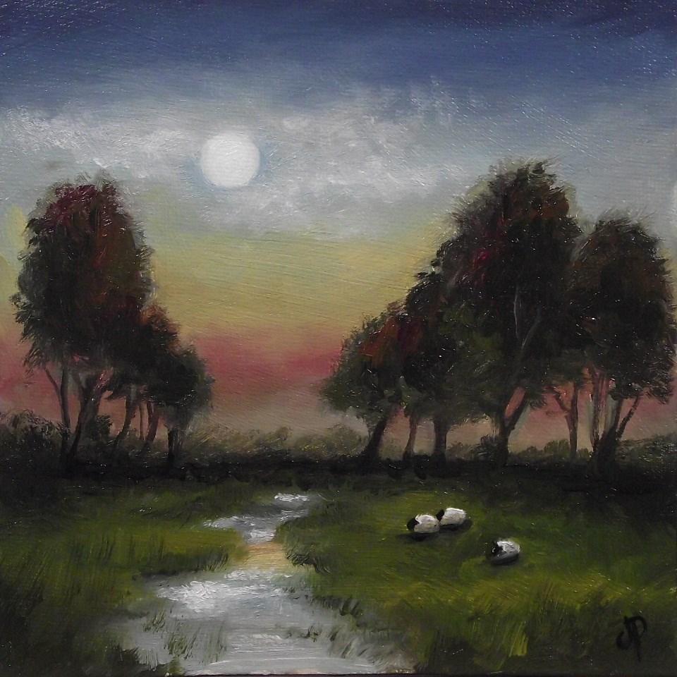 """Evening sheep"" original fine art by Jane Palmer"