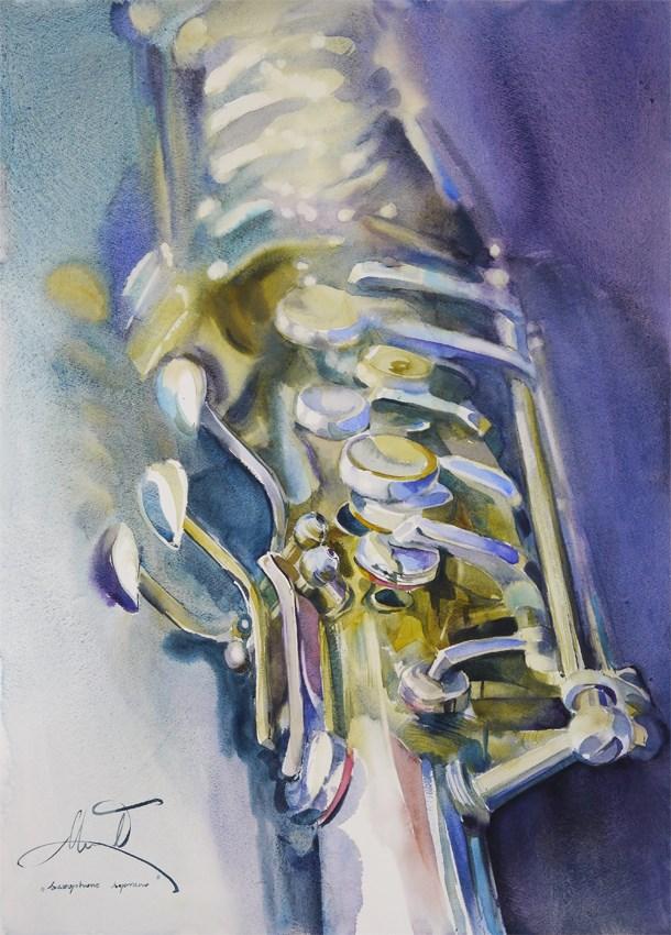 """tenor saxophone"" original fine art by Beata Musial-Tomaszewska"