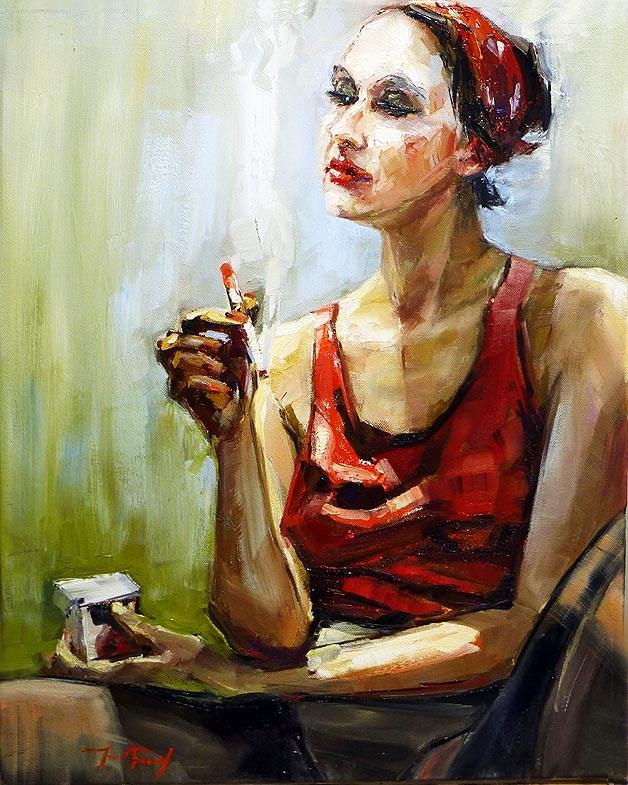 """Frau mit Zigarette"" original fine art by Jurij Frey"
