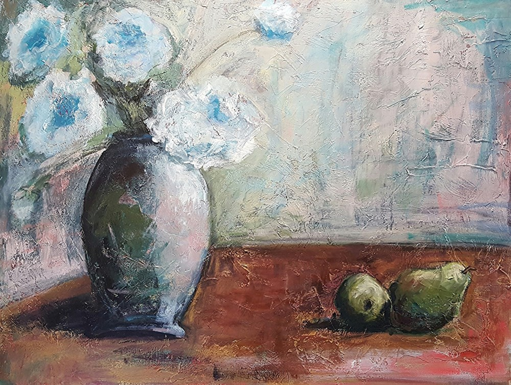 """""""Blue Floral and Green Pears"""" original fine art by Mechele Flowers"""
