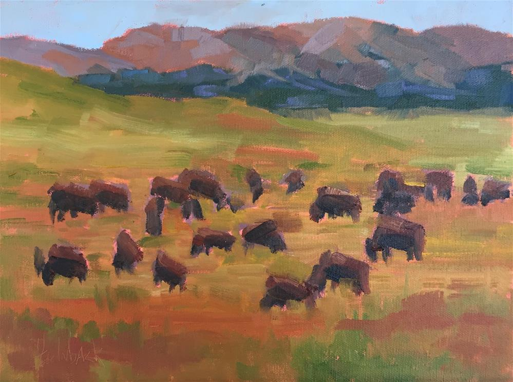 """Hartsel Bison"" original fine art by Pam Holnback"