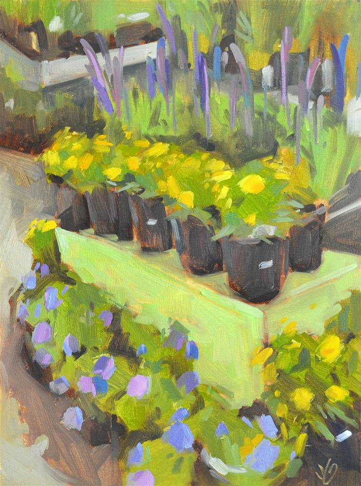 """Rosie's Flower Pots"" original fine art by Jessica Green"