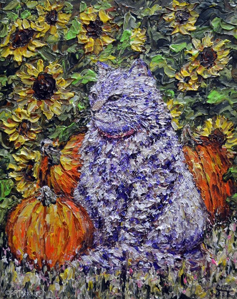 """Guarder of Pumpkins"" original fine art by Gloria Ester"