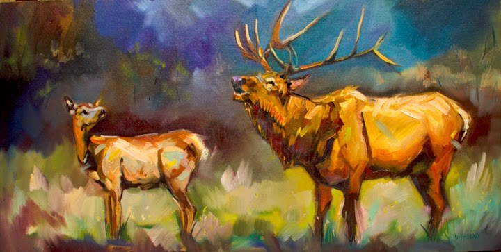 """ARTOUTWEST Diane Whitehead Fine Art Wildlife animal art elk bugle"" original fine art by Diane Whitehead"