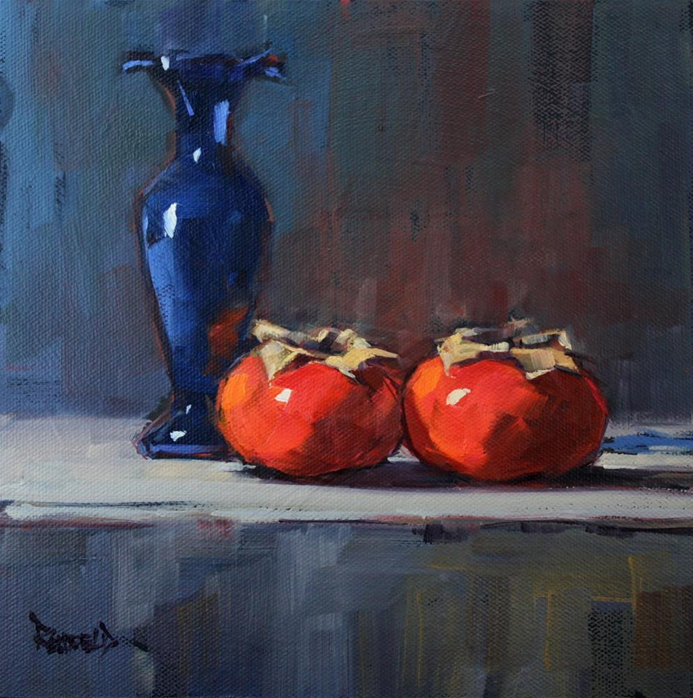 """Persimmons and Blue Vase"" original fine art by Cathleen Rehfeld"