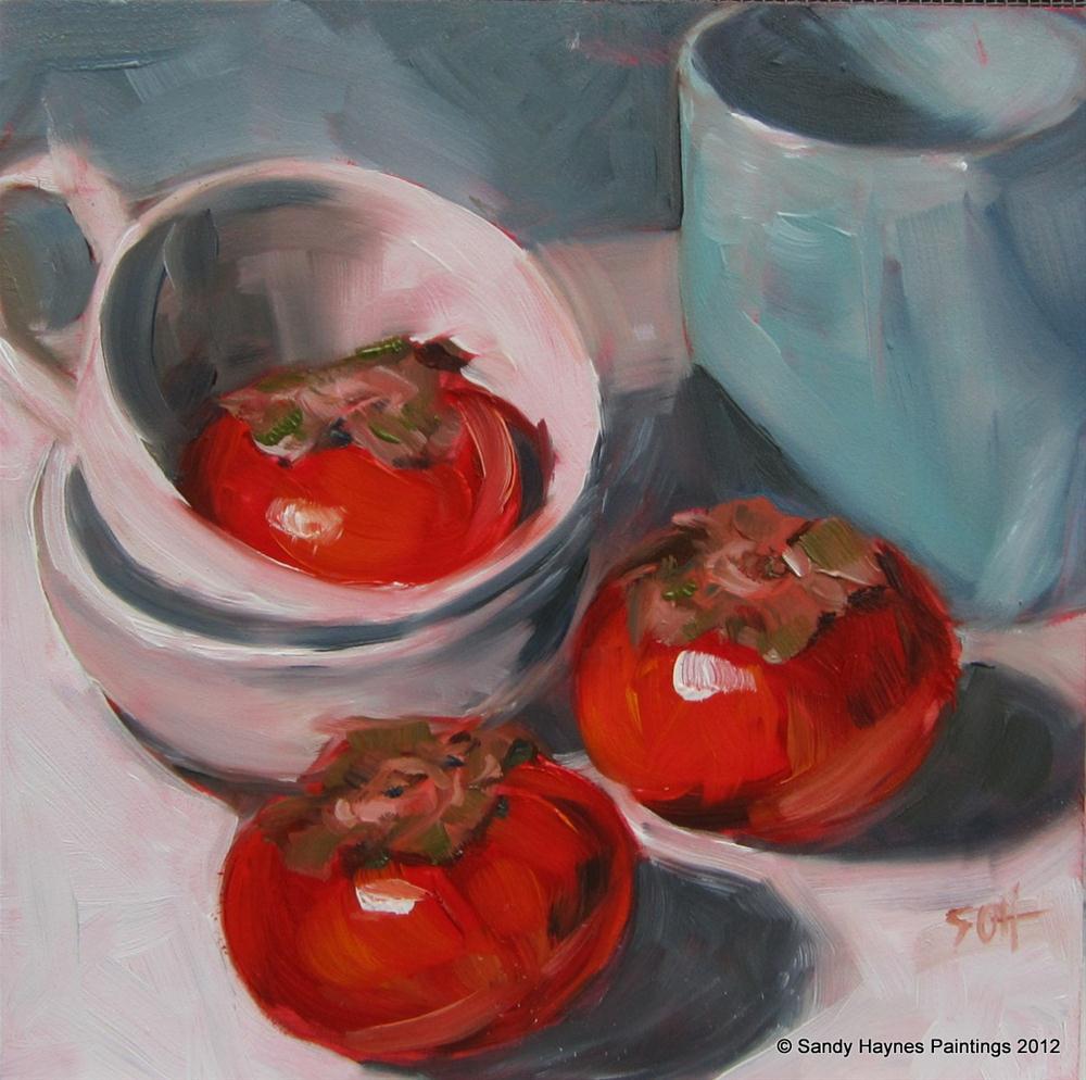 """""""persimmon trio"""" original fine art by Sandy Haynes"""