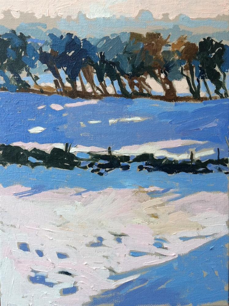 """Fred's paddock in snow"" original fine art by Haidee-Jo Summers ROI"