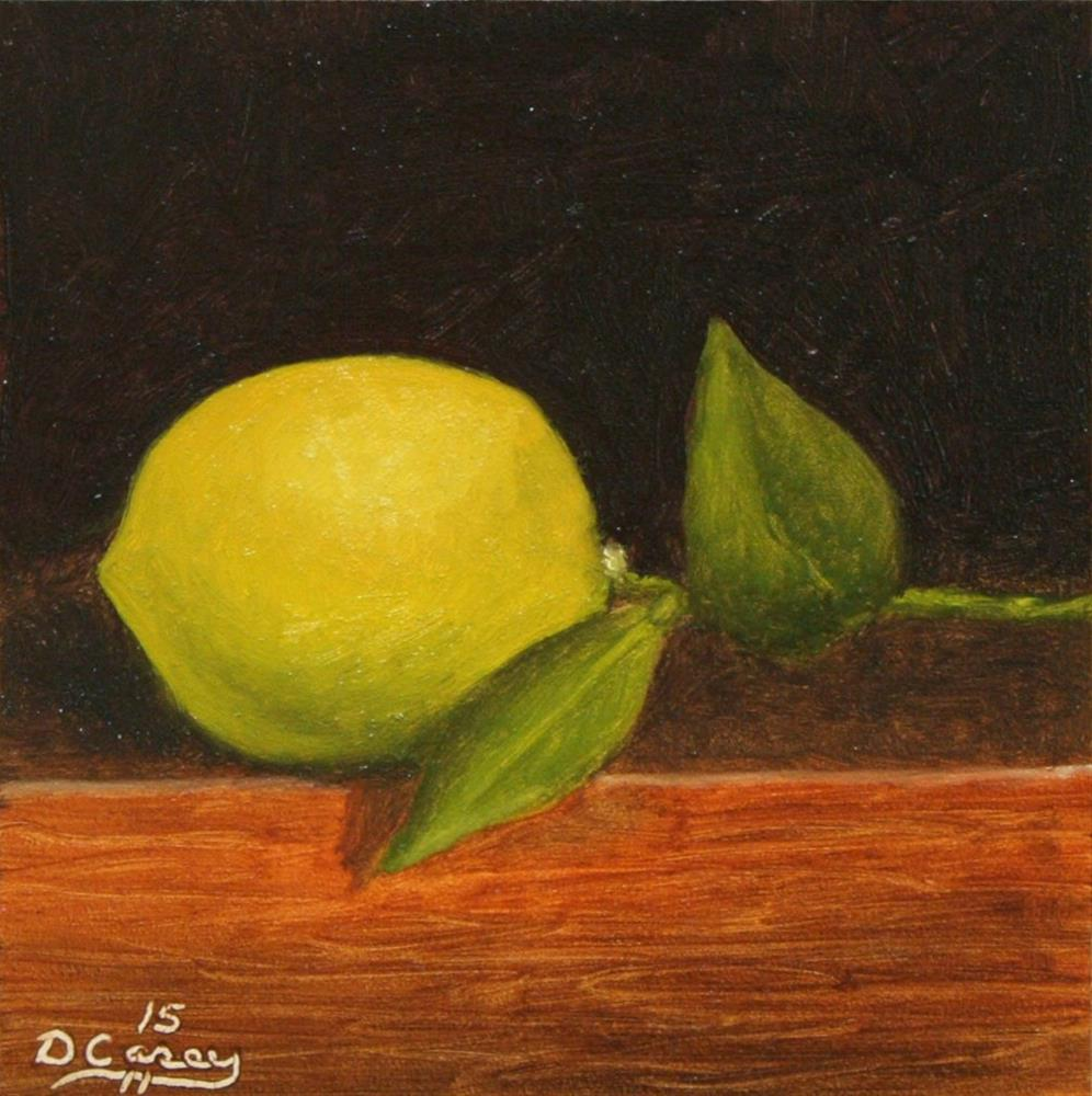 """""""150116 - Lemon 008 - 5x5 oil on gessobord - Dave The Daily Painter"""" original fine art by Dave Casey"""