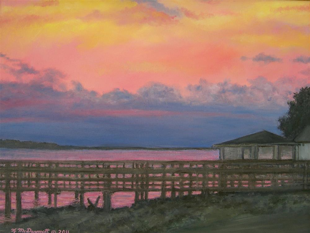 """NIGHT SKY OVER LAKE MARION"" original fine art by Kathleen McDermott"