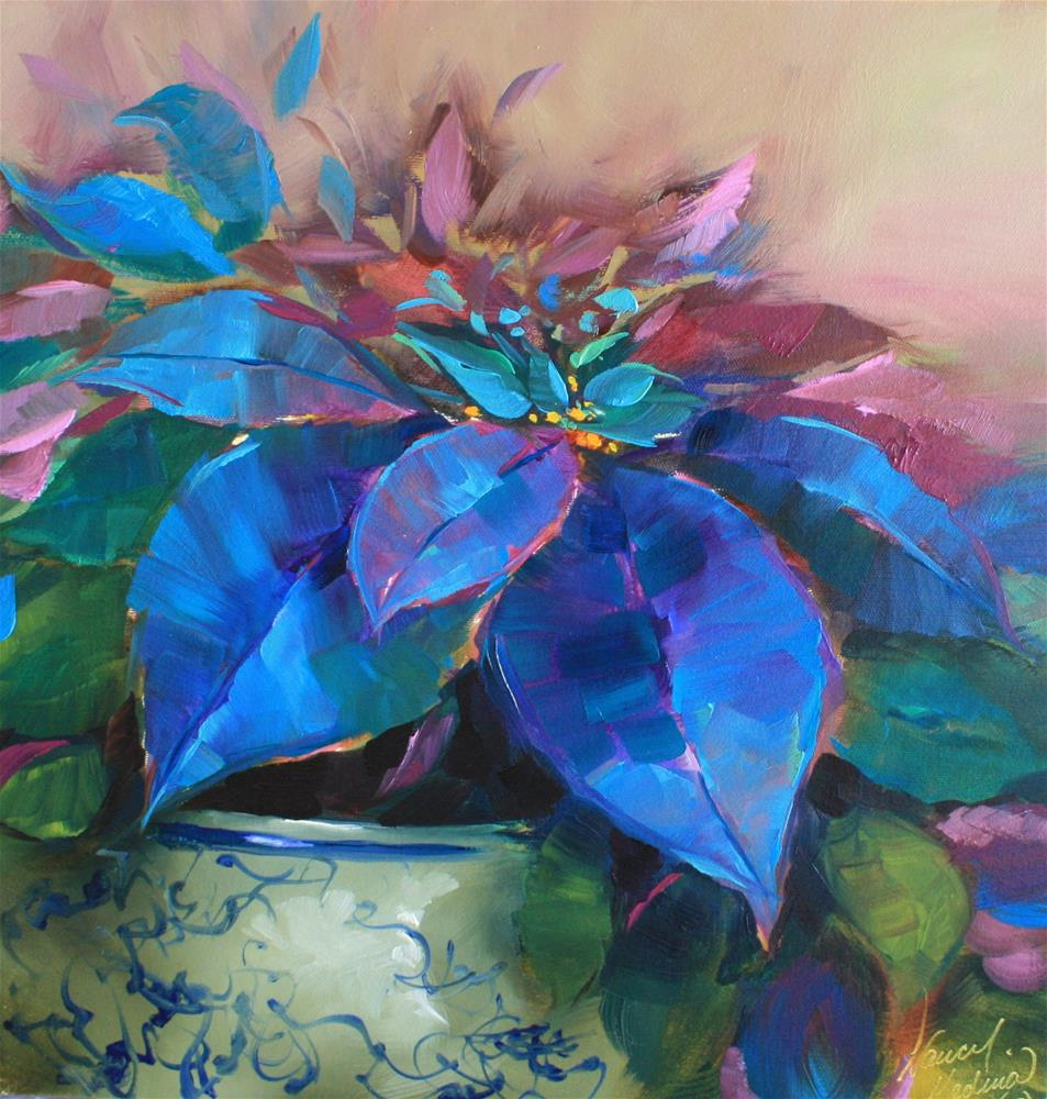 """Painted Ladies Blue Poinsettias"" original fine art by Nancy Medina"