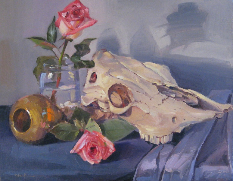 """Cow Skull with Blush Roses"" original fine art by Sarah Sedwick"