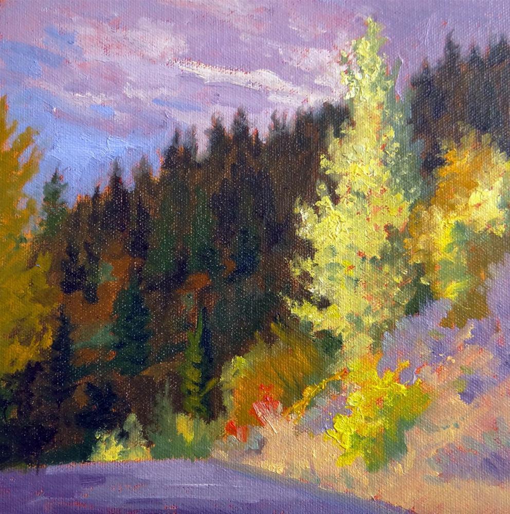 """Yellow Aspens; Purple clouds"" original fine art by Nancy Paris Pruden"