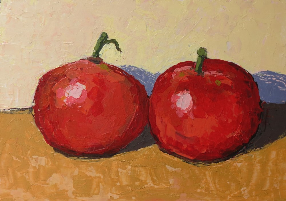 """Last Tomatoes"" original fine art by Joan Wiberg"