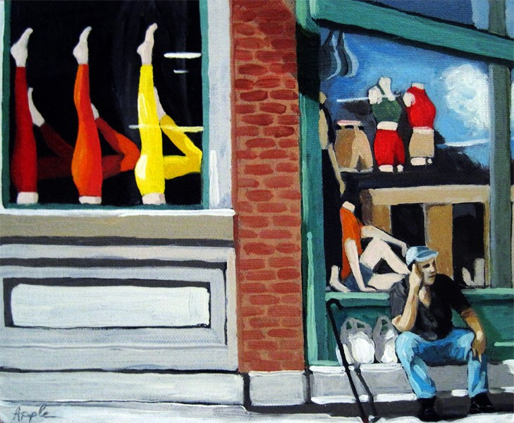 """Its All About the Legs - figurative city urban oil painting"" original fine art by Linda Apple"
