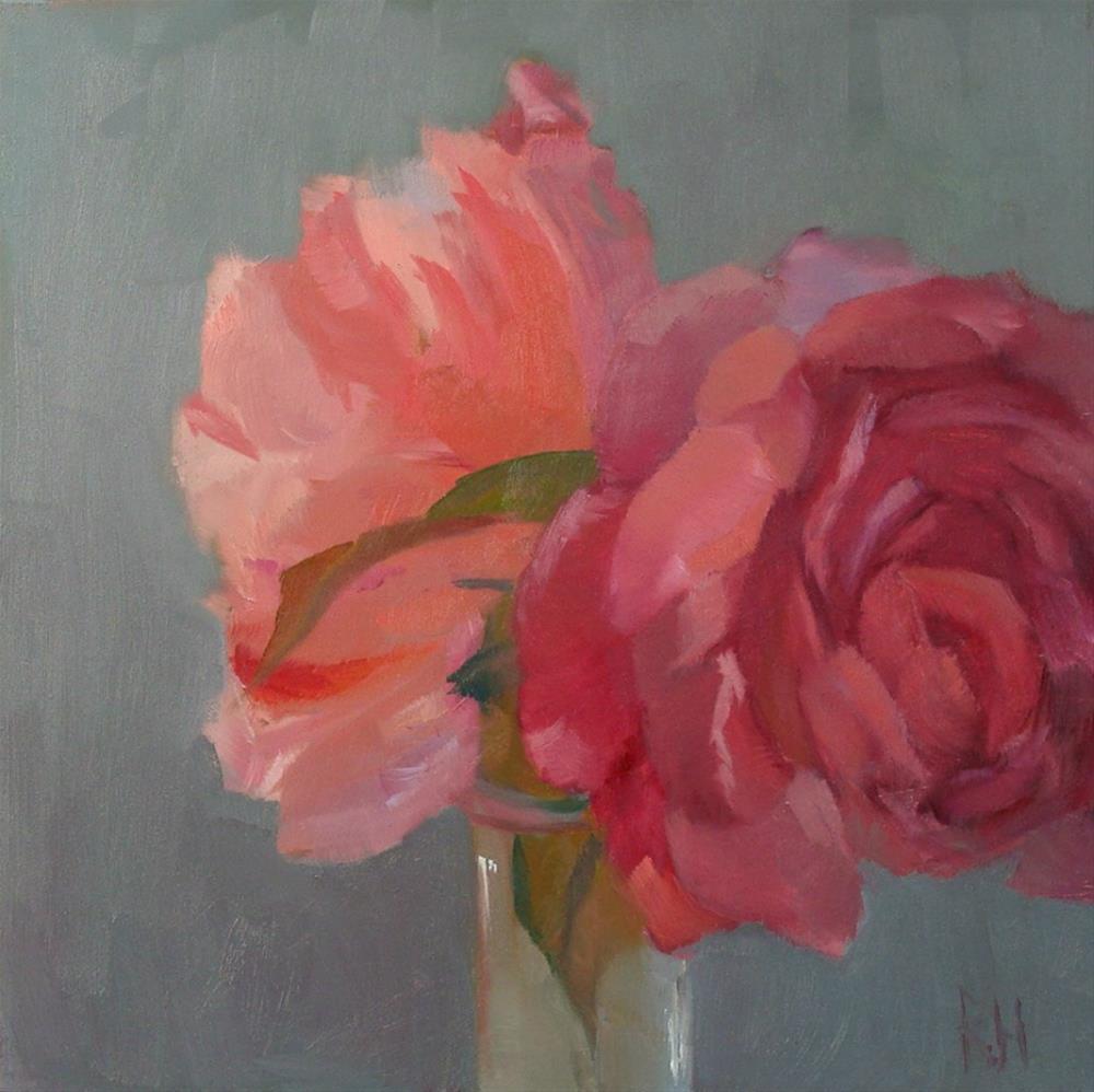 """Peonies in Gray"" original fine art by Rebecca Helton"
