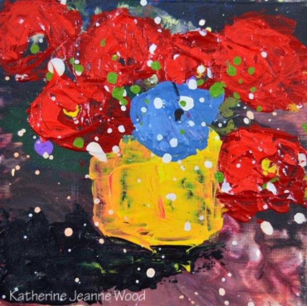 """Red and blue floral painting No 166"" original fine art by Katie Jeanne Wood"