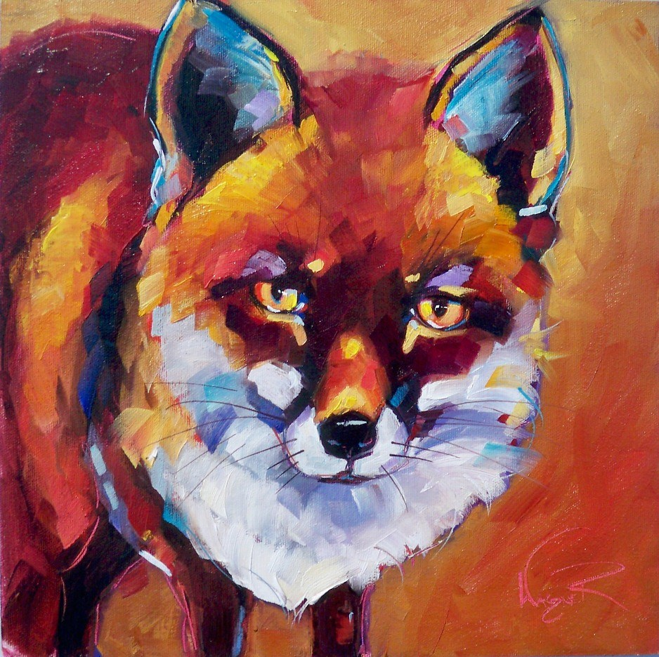 """RED FOX by OLGA WAGNER"" original fine art by Olga Wagner"