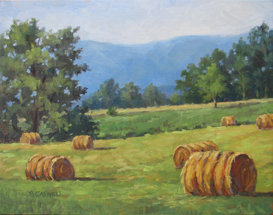 """""""SUSQUEHANNA ROUNDBALES Original Oil Painting by Claire Beadon Carnell"""" original fine art by Claire Beadon Carnell"""