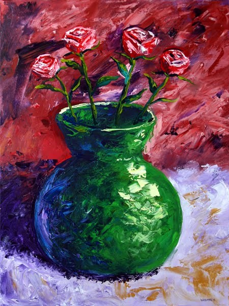 """Mark Webster - Roses in Vase Still Life Acrylic Painting"" original fine art by Mark Webster"