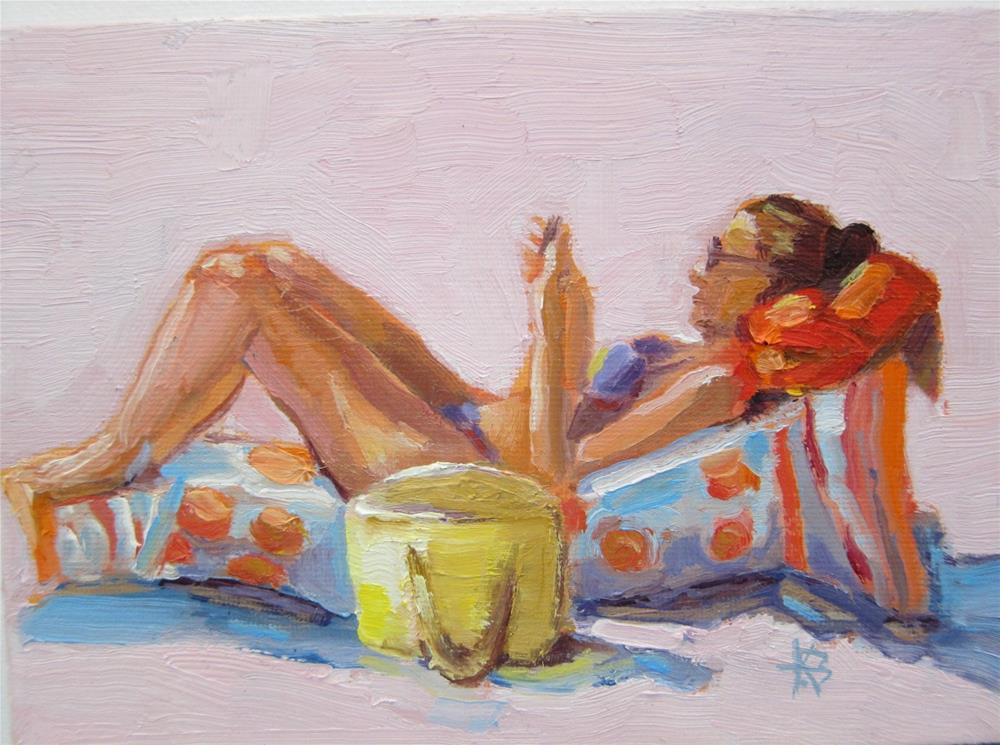 """Tanning and Texting"" original fine art by Kathy Bodamer"