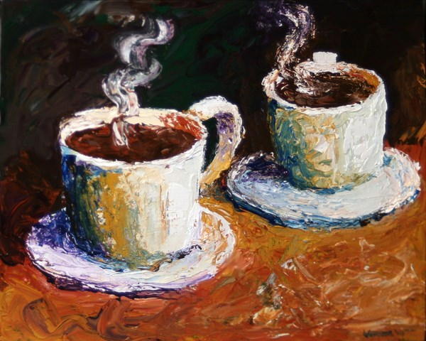 """Mark Webster - Palette Knife Coffee Cups Acrylic Painting"" original fine art by Mark Webster"