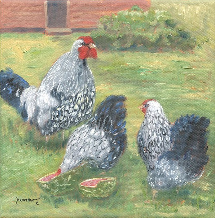 """ORIGINAL PAINTINGS OF HAPPY CHICKENS WITH WATERMELON"" original fine art by Sue Furrow"