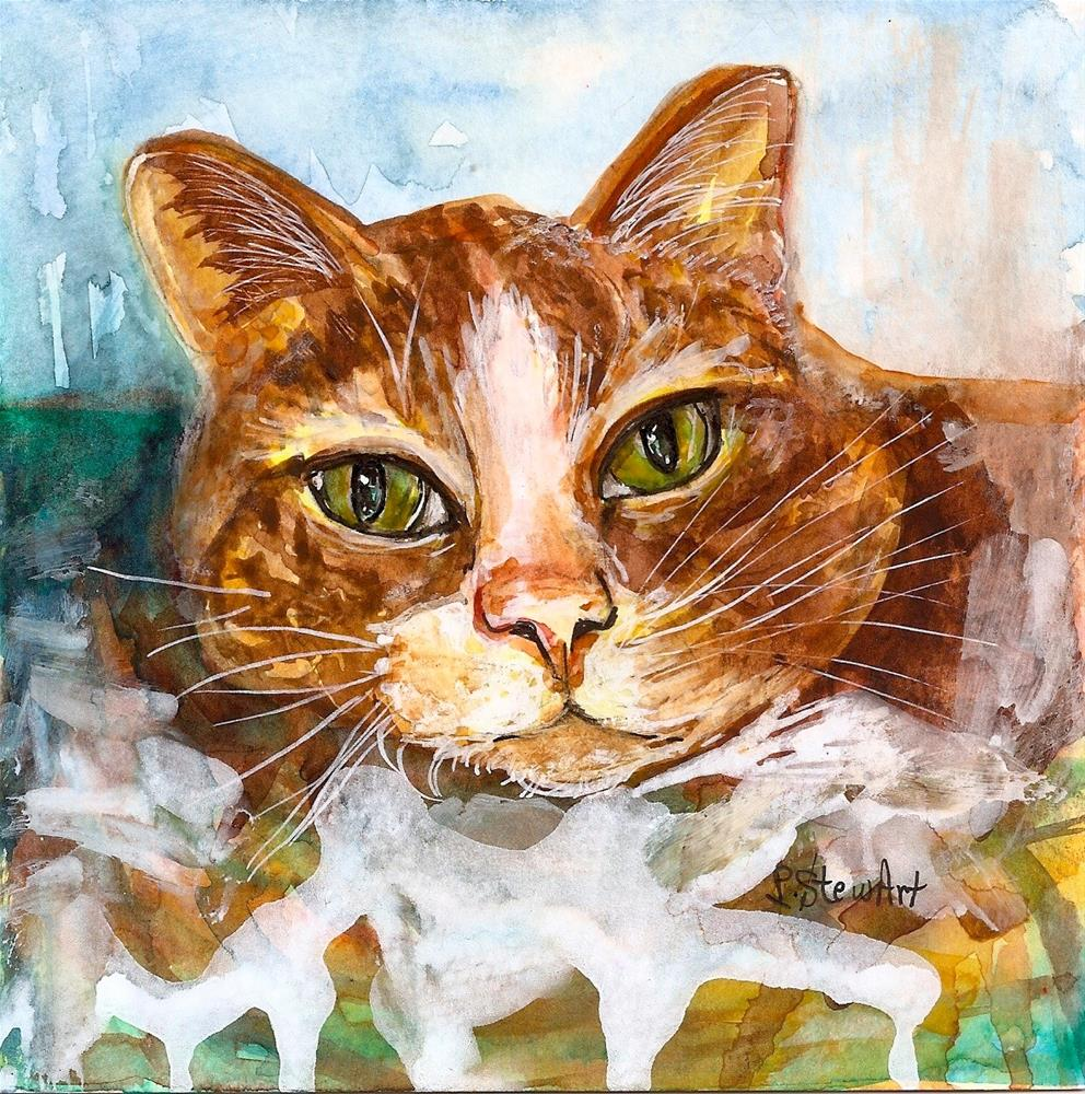 """6x6 Orange Tabby Cat Loose Watercolor Style with Pen and Ink Penny StewArt"" original fine art by Penny Lee StewArt"