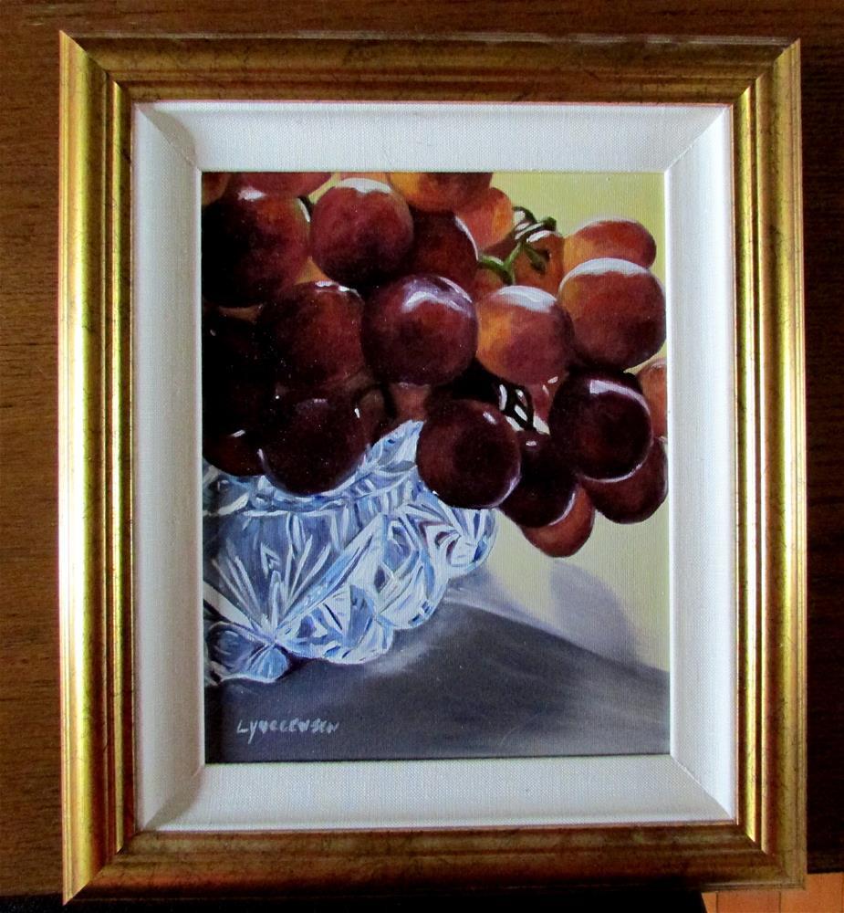 """8 x 10 inch framed oil Grapes&Crystal"" original fine art by Linda Yurgensen"