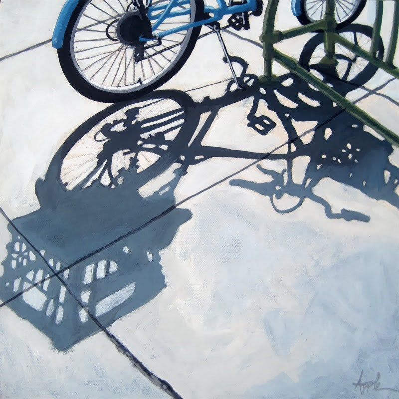 """Bicycle Shopping Day Cycling art city scene"" original fine art by Linda Apple"