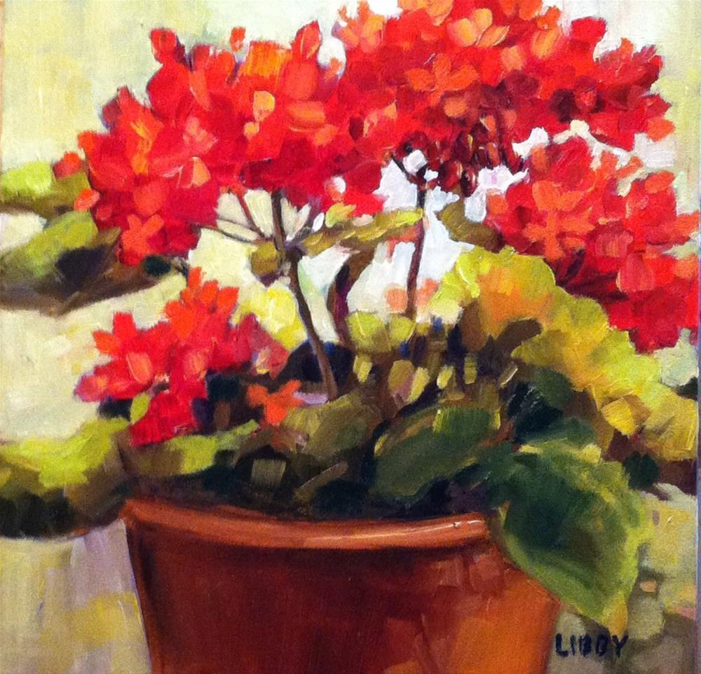"""Geranium in the Sun"" original fine art by Libby Anderson"