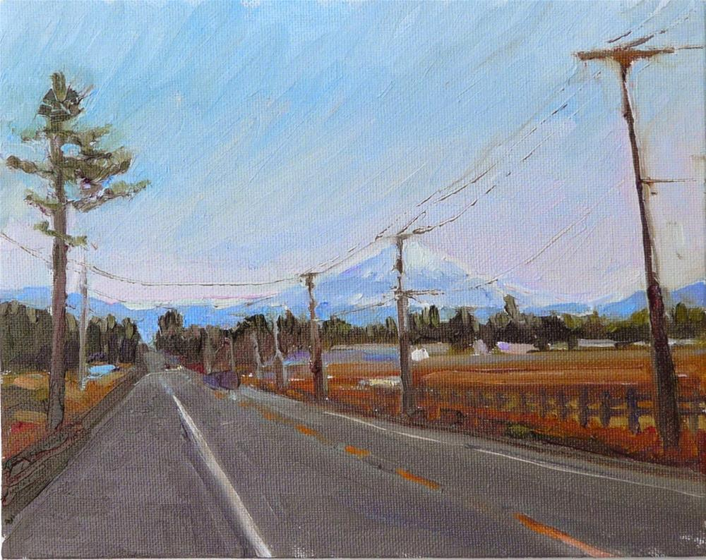 """Mt Baker View from County Road,landscape,oil on canvas,8x10,price$300"" original fine art by Joy Olney"