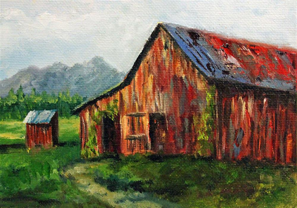 """Old Barn"" original fine art by Barbara Janecka"