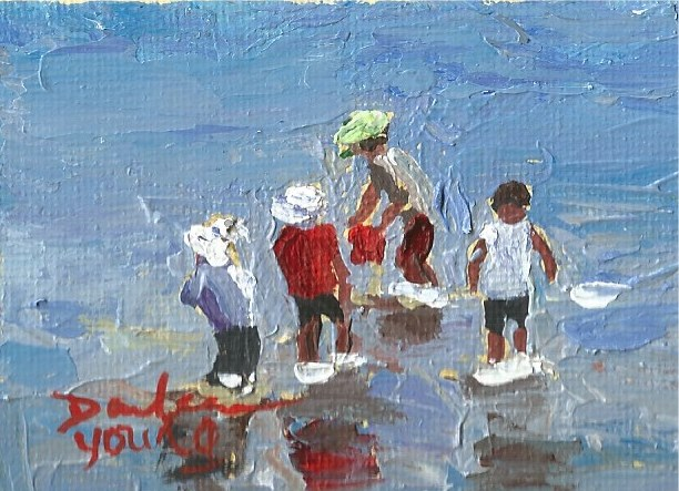 """939 Beach Kids, miniature, 2.5x3.5, oil on board"" original fine art by Darlene Young"