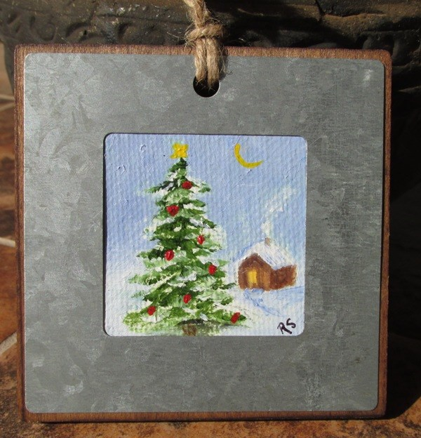 """White Christmas Ornament"" original fine art by Ruth Stewart"