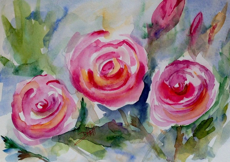 """Pink Rose"" original fine art by Delilah Smith"