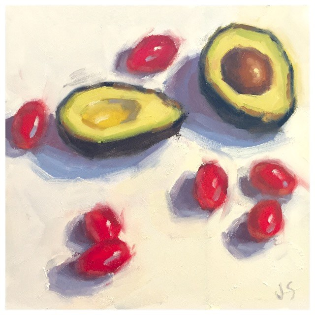 """Avocado and Tomatoes"" original fine art by Jamie Stevens"