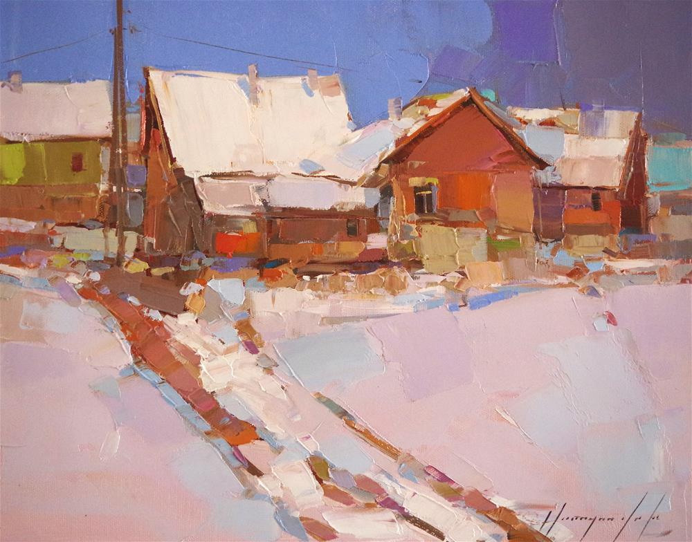 """Winter, Landscape, Oil painting, Original Handmade art, impressionism, One of a kind"" original fine art by V Yeremyan"