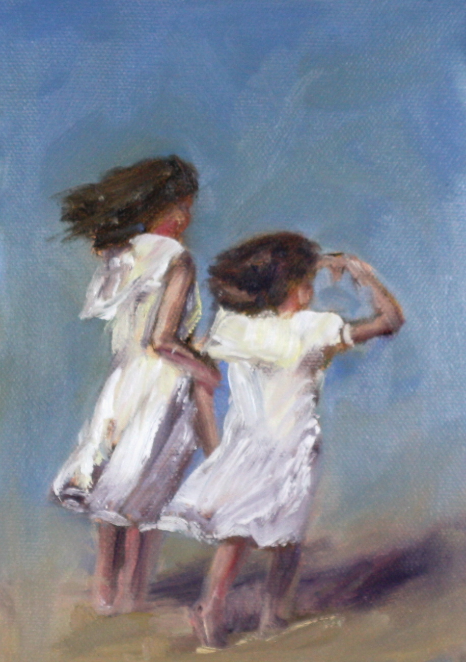 """oil painting two young girls in white dresses"" original fine art by Carrie Venezia"
