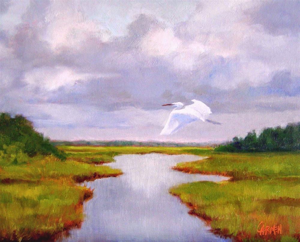 """Flight Path, 10x8 Original Oil Painting on Canvas Panel"" original fine art by Carmen Beecher"