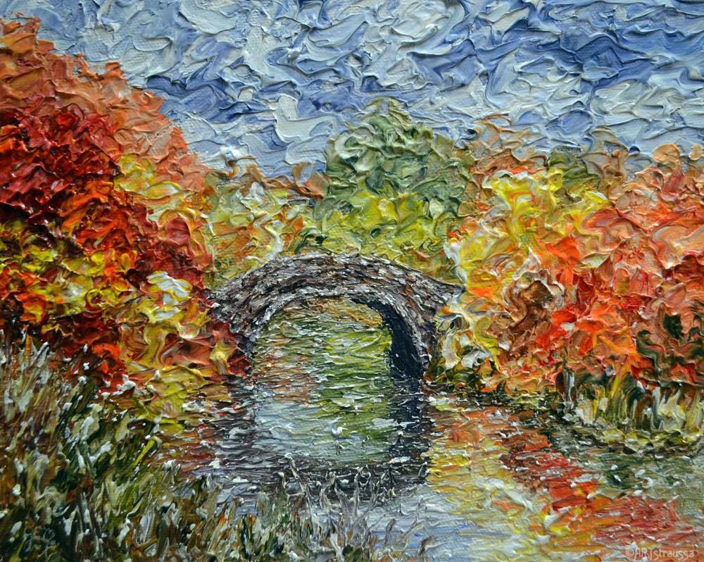"""Autumn Crossing"" original fine art by Gloria Ester"