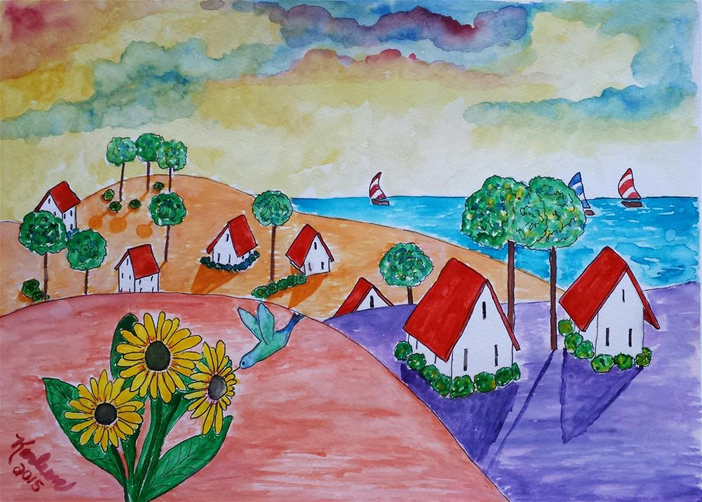 """Folk Art Hummingbird Village"" original fine art by Karleen Kareem"