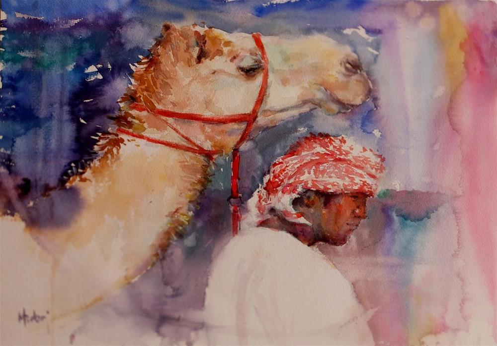 """""""Al Marmoom Camel Racetrack 4/7"""" original fine art by Midori Yoshino"""