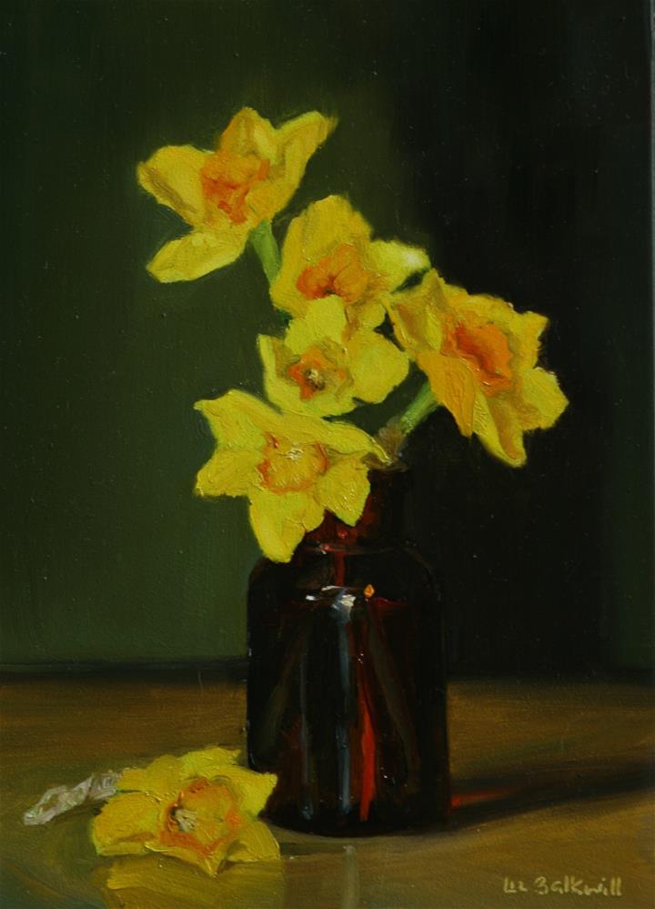 """Narcissi in brown bottle"" original fine art by Liz Balkwill"