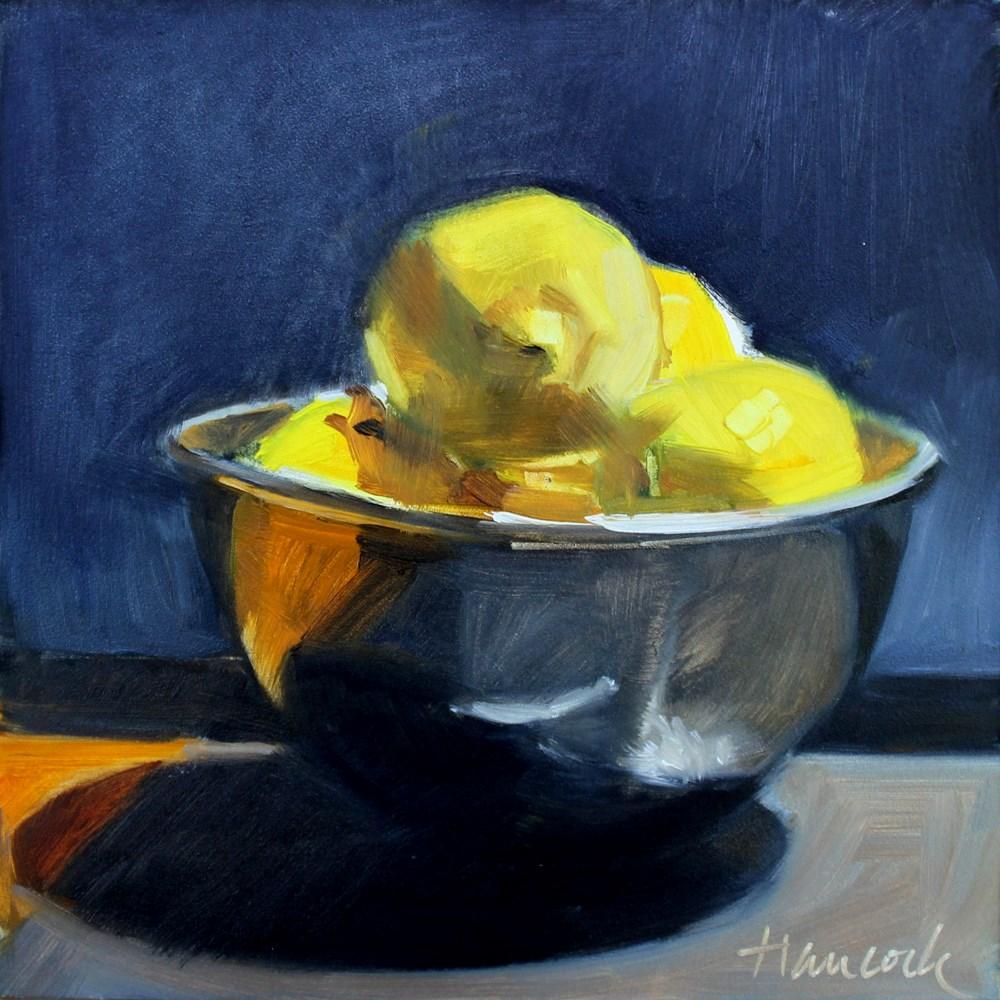 """Silver Bowl, Lemons Blue Wall"" original fine art by Gretchen Hancock"