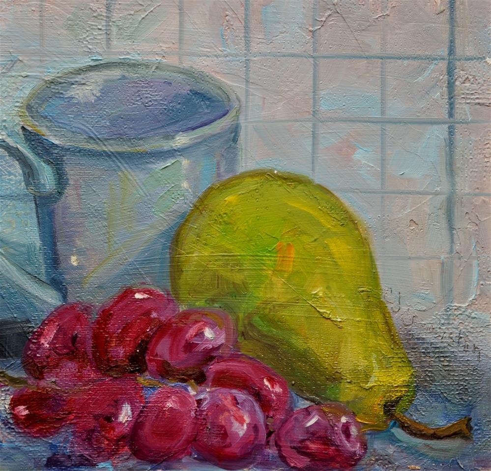 """Pear with grapes"" original fine art by Catherine Crookston"