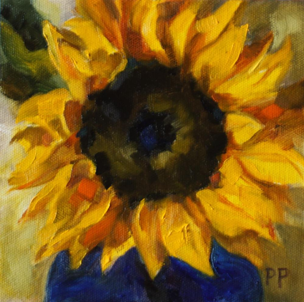 """Sunflower in Blue Vase"" original fine art by Pamela Poll"