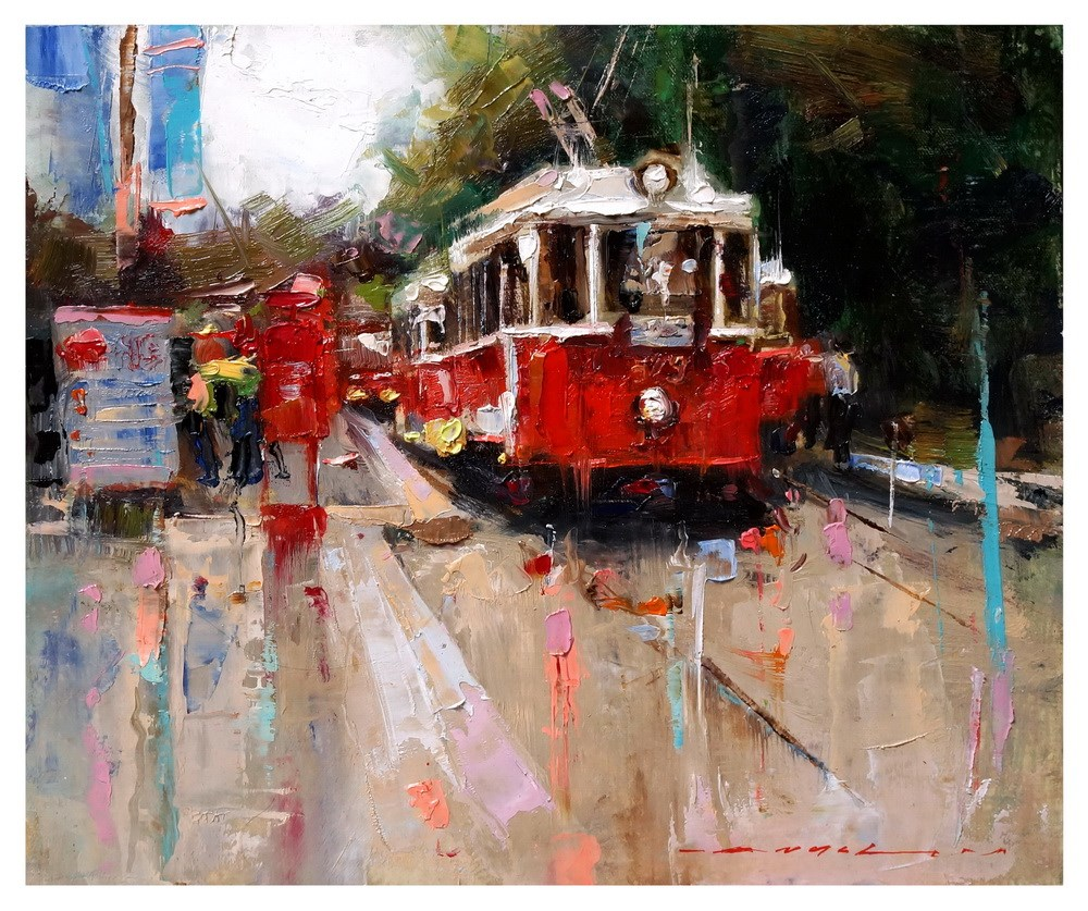 """18:30 --- The Red Tram"" original fine art by Angel Angelov"