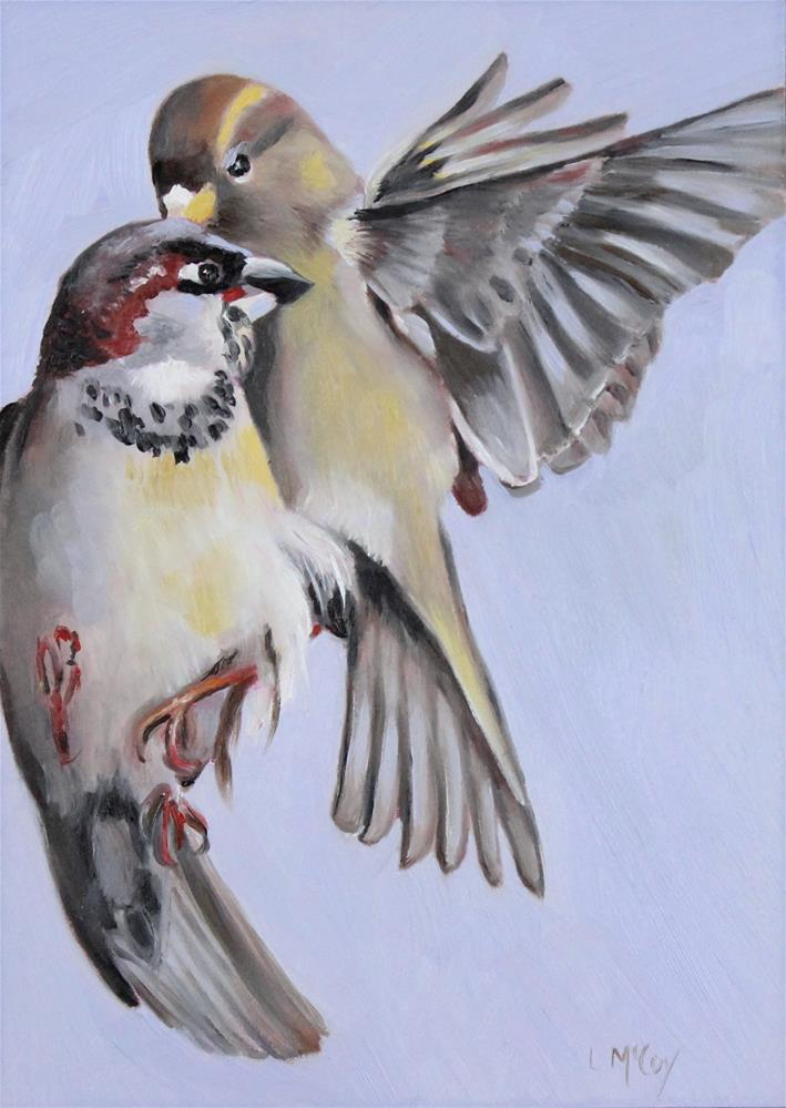 """Secrets, Sparrow Bird Oil Painting"" original fine art by Linda McCoy"